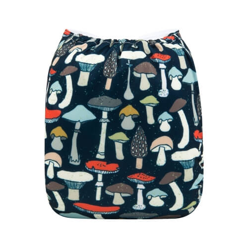Alva baby OSFM pocket nappy Mushies back h185