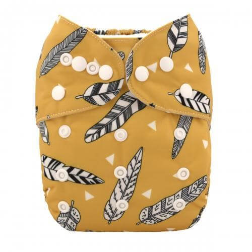Alva baby reusable OSFM cloth nappy gold feather frront h006