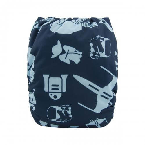 Alva baby reusable OSFM cloth nappy star wars back h091