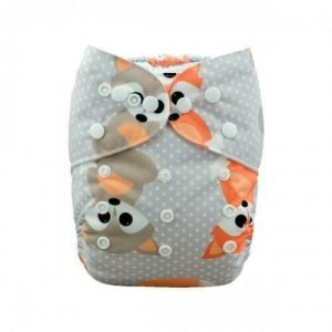 alva baby OSFM pocket nappy baby fox front h042