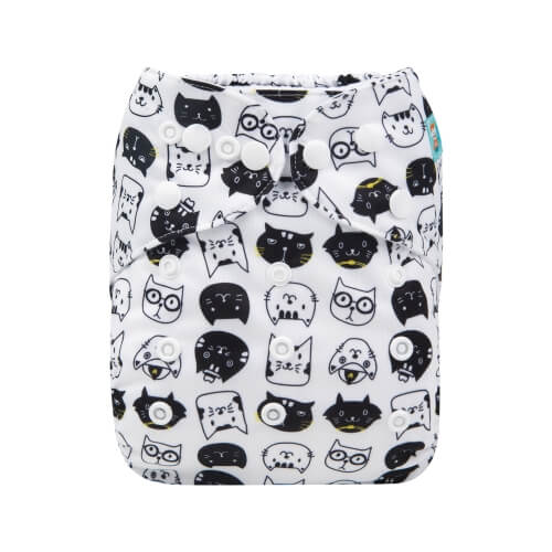 alva baby OSFM pocket nappy crazy cats front h163