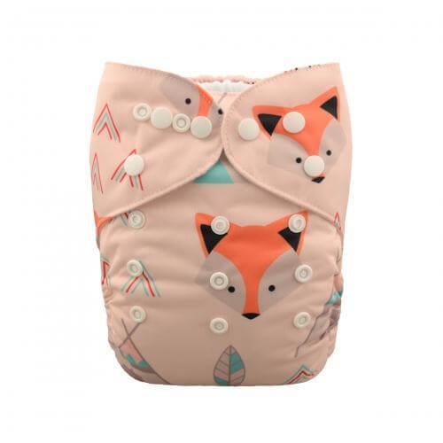 alva baby OSFM pocket nappy foxie teepee front yd45