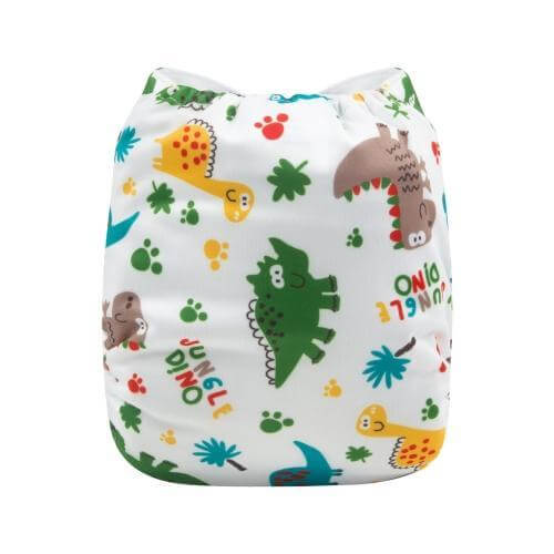 alva baby OSFM pocket nappy jungle dino back h147