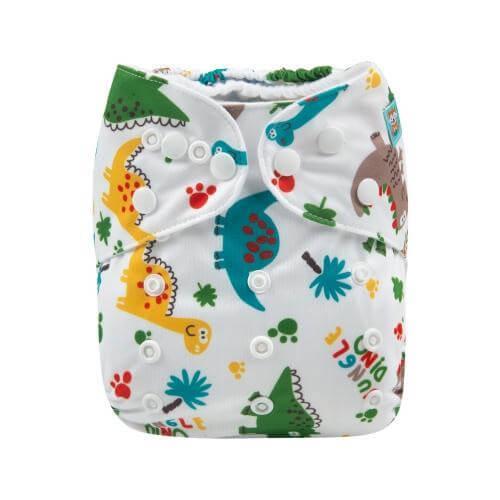 alva baby OSFM pocket nappy jungle dino front h147