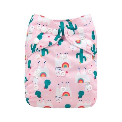alva baby OSFM pocket nappy lama love front h184