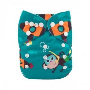alva baby OSFM pocket nappy monkey sea monkey do front h092