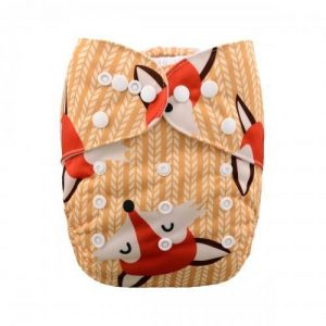 alva baby OSFM pocket nappy mr fox front h048