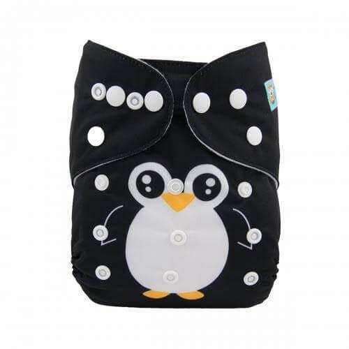 alva baby OSFM pocket nappy penguin pip front yd149