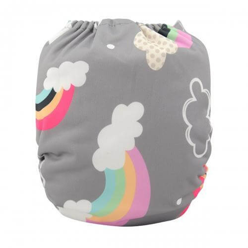 alva baby OSFM pocket nappy rainbows and lollipops back yd15