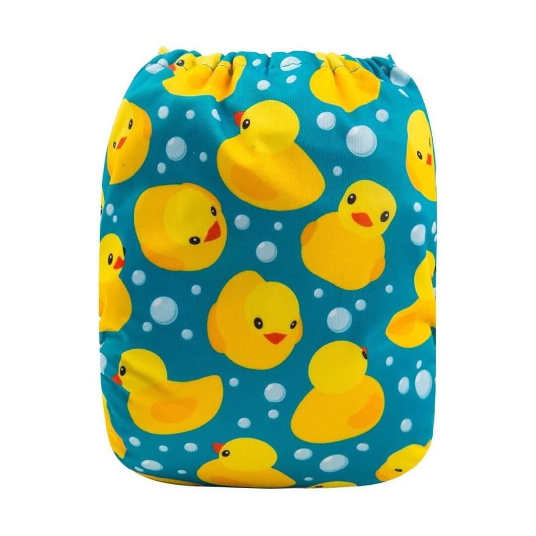 alva baby OSFM pocket nappy rubber ducky back h114