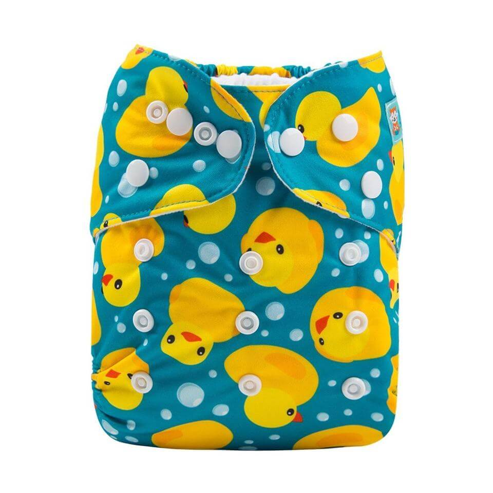alva baby OSFM pocket nappy rubber ducky front h114
