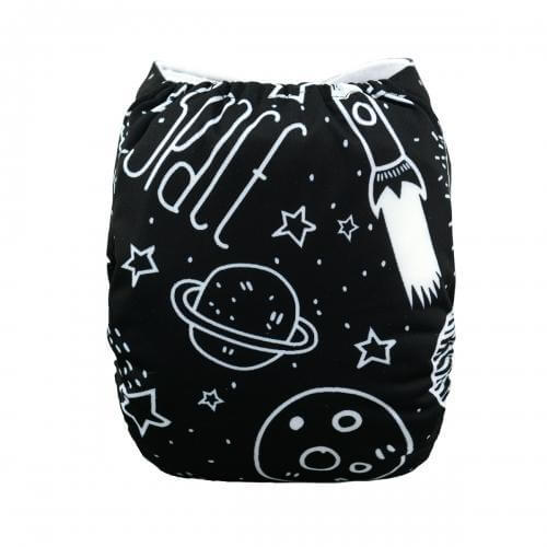 alva baby OSFM pocket nappy space invaders back h040