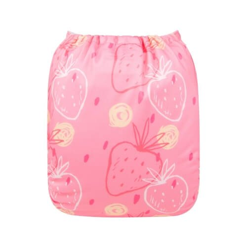 alva baby OSFM pocket nappy strawberry love back h164