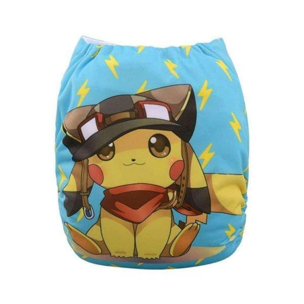 alva baby OSFM pocket nappy Pikachu back yd64